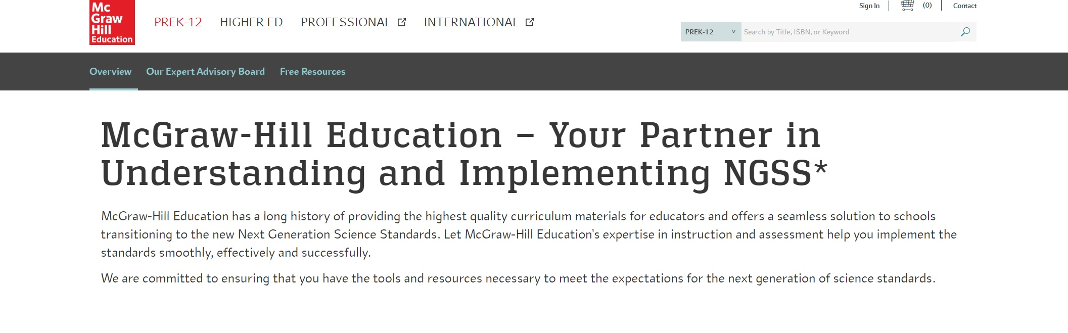 "Screenshot of McGraw-Hill textbook publisher website, which reads, ""McGraw-Hill, Your Partner in Understanding and Implementing NGSS."""
